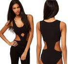 Womens Black Cut* Out One Piece Party Stretch Bodysuit Leotard Top