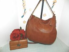 FOSSIL COGNAC WHISKEY LEATHER CONVERTIBLE HOBO SHOULDER BAG  WALLET SET LOT