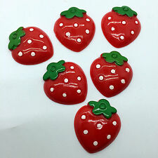 6pcs Red Strawberry embellishment Resin Flatback ScrapbookIng for phone/craft