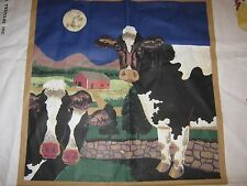 "Lincoln Textile COWS at the FARM Cut & Sew Cotton Fabric Panel  44""x36"" UNCUT"
