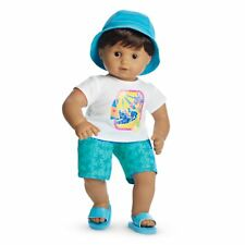 """American Girl BT BITTY TWIN SAILBOAT SWIM OUTFIT for 15"""" Doll Blue Shorts NEW"""