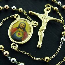 FS455 18K YELLOW WHITE ROSE G/F GOLD ROSARY CROSS JESUS PENDANT NECKLACE CHAIN