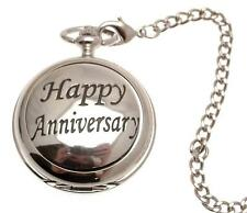 Pocket watch Happy Anniversary design skeleton mechanism