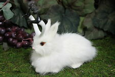 White Snowy Jackalope Lying Rabbit w/ Horns Easter Bunny Furry Animal Taxidermy