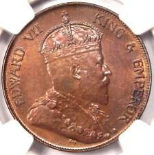 1905-H China Edward VII Hong Kong Cent - NGC MS63 - Rare Uncirculated BU Coin