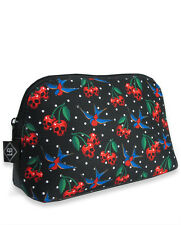 LIQUOR BRAND TOILETRY COSMETIC BAG PENCIL CASE CHERRY SKULL ROCKABILLY TATTOO