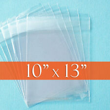 "100 Clear Cello Bags, 10x13 Inch, Resealable Poly Cellophane, 1.2 mil, 10"" x 13"""