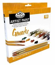 ARTISTS GOUACHE PAINT ART SET OF 18 + 2 BRUSHES BY ROYAL & LANGNICKEL