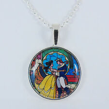 BEAUTY AND THE BEAST NECKLACE stained glass window disney belle vintage wedding