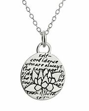 Lotus Charm Necklace - 950 Sterling Silver - Handmade Inspirational Pendant NEW