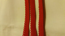 Scallop edge Light lingerie elastic 5 m long by 8 mm wide. Red colour.