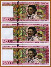 LOT Madagascar 3 x 25000 (25,000) Francs (1998) PIck 82  A-Prefix UNC