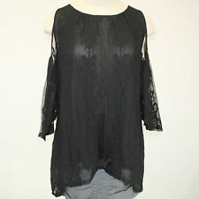 NEW NWT XCVI Plus Size Risette Open Cold Shoulder Black Layered Tunic Blouse 2X