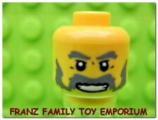 New LEGO Minifig HEAD Gray Beard Male Imperial Governer Dragon and Gold Knight