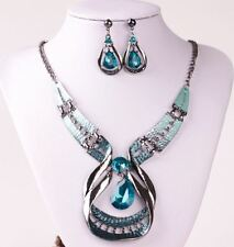 SILVER TONE METAL CUT-OUT CRYSTAL TURQUOISE TEAR DROP  NECKLACE EARRING SET