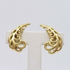 VINTAGE TIFFANY & CO PALOMA PICASSO 18K GOLD FERN LEAF CLIP NON PIERCED EARRINGS