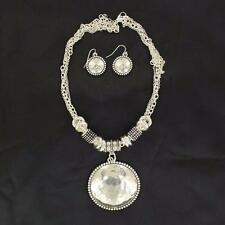 M&F Western Jewelry Womens Earrings Necklace Hammered Silver 29464