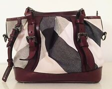 Burberry Mega Nova Check Pale Beige Lowry Fabric & Leather Satchel Handbag Purse
