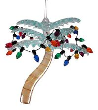Tropical Palm Tree with String Lights Glass 4.25 inch Christmas Holiday Ornament