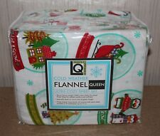 NEW LIVING QUARTERS HEAVY WEIGHT 4 PIECE SNOWGLOBE WINTER FLANNEL SHEETS SET