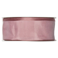 Ruban tissu satin 40mm complet 25m rouleau Rose Sombre
