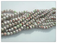 40 x Mottled Stone Effect Glass Beads - 6mm - White/Red/Green