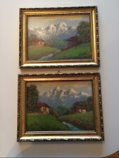 Vintage Pair of Framed Paintings on a Board Signed by Italian Artist Rossi