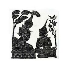 "Thai Temple Rubbing - Black - Story of Ramakien - 24"" x 24"" -             2414BL"