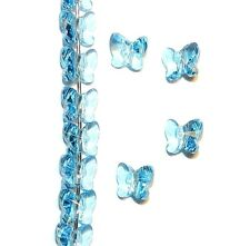 SCU115f AQUAMARINE Blue Faceted Butterfly 6mm Swarovski Crystal Beads 12/pkg
