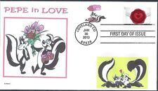 PEPE LE PEW  SKUNKS  LOVE  HEARTS   CANDY   FLOWERS   FDC-  DWc   CACHET