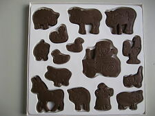 15 PCE FARM ANIMAL CHOCOLATE SOAP CANDY MOLD- DOG COW DUCK HEN PIG SHEEP TRACTOR
