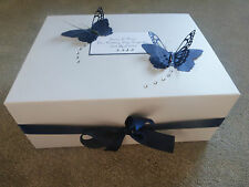 Personalised Wedding Memory Box Navy Butterfly Bridesmaid Keepsake Gift