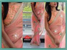 Bollywood Indian Sari Designer Party Wear Saree Pink Pakistani Wedding Saree