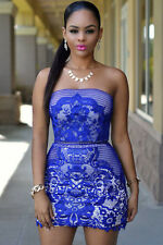 Sexy Ladies Royal Blue Lace Strapless  Bodycon Party Evening Dress  Underlay 10