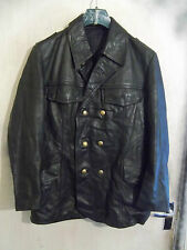 VINTAGE GERMAN POLICE OFFICERS LEATHER JACKET SIZE M PEA COAT MOTORCYCLE CAR WW