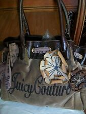AUTHENTIC JUICY COUTURE DAYDREAMER VELOUR LEATHER TOTE SHOPPER HANDBAG PURSE