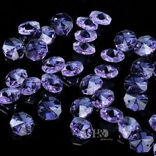 50pcs Lavender Crystal Chandelier Decor Parts 14mm Faceted Octagon Glass Beads