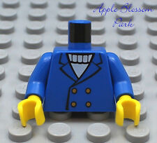 NEW Lego Male Boy MINIFIG TORSO -Blue w/Button Suit Jacket White Sweater Pattern