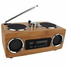 New Stereo Bamboo Multimedia Speaker TF Card/USB/FM Radio/MP3 player + Battery