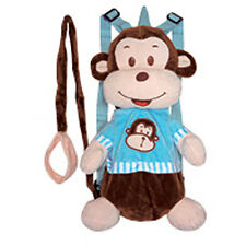 "Backpack 14"" Harness Leash 3-in-1 Plush Monkey Brown Blue New"