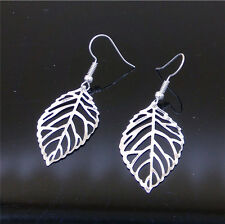 Fashion Women Hollow out lucky Leaves Pendant Tibet silver Hook dangle earrings