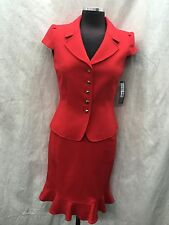 TAHARI BY ARTHUR LEVINE SKIRT SUIT/SIZE 6/RETAIL$280//LINED/RED/SMOKE FREE