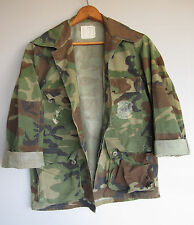 Mens Vintage US Camo Military Jacket Shirt Woodland Camouflage Distressed XS