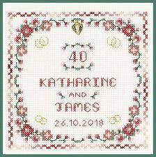 Ruby Wedding Anniversary with heart charm - Cross Stitch Kit on 14 aida