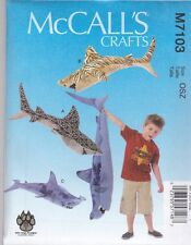 McCall's Sewing Pattern Craft Sharks Great White Tiger Hammer Head Shark  M7103