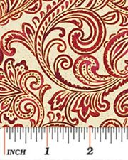 CHICKADEES & BERRIES RED GOLD SCROLL CHRISTMAS FABRIC METALLIC