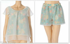 Genuine Liz Lisa JugeETTA Floral Satin chiffon top and shorts 2 piece set New