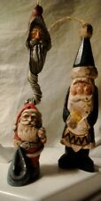 "Lot of 3 Old World Santa Christmas Ornaments Fast Shipping 2"" 4"" 6"". Used"