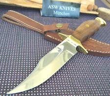 Jagdmesser Edelstahl Walnuss Holz XL Jagdmesser mit ASW KNIVES Lederscheide Neu
