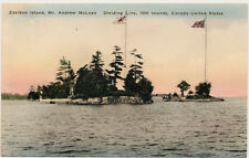 THOUSAND ISLANDS NY–Hand Colored PC of Zavikon Island U.S. Canada Dividing Line